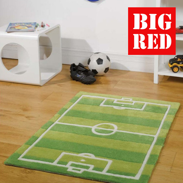 Flair Rugs Kids Collection Football Pitch Green